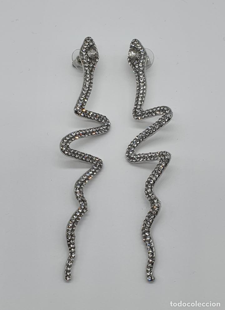 Joyeria: Modernos pendientes de serpientes de diseño con baño en plata de ley y circonitas talla brillante . - Foto 6 - 199291438