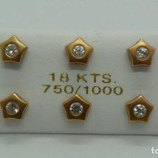 Joyeria: LOTE 3 PARES PENDIENTES NIÑA CON CIRCONITAS EN ORO ROJO DE 18 KLTES. (750MM). Lote 199493866