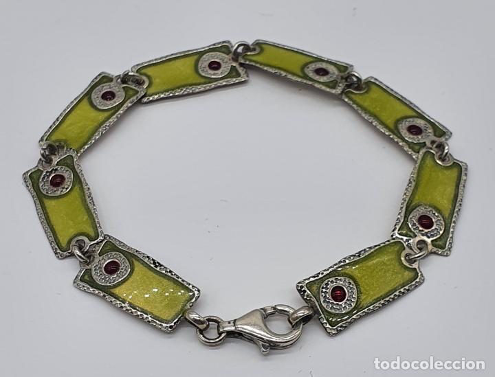 Joyeria: Bella pulsera vintage de eslabones en plata de ley de diseño contrastada y esmaltes al fuego . - Foto 2 - 199878306