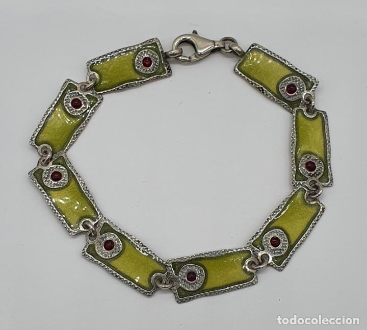 Joyeria: Bella pulsera vintage de eslabones en plata de ley de diseño contrastada y esmaltes al fuego . - Foto 3 - 199878306
