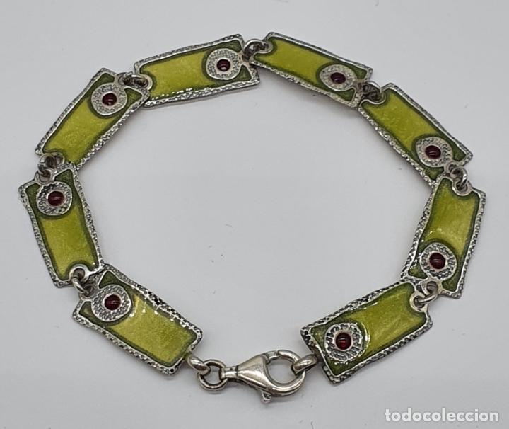 Joyeria: Bella pulsera vintage de eslabones en plata de ley de diseño contrastada y esmaltes al fuego . - Foto 4 - 199878306
