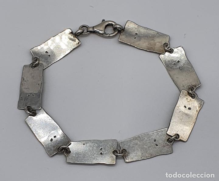 Joyeria: Bella pulsera vintage de eslabones en plata de ley de diseño contrastada y esmaltes al fuego . - Foto 5 - 199878306