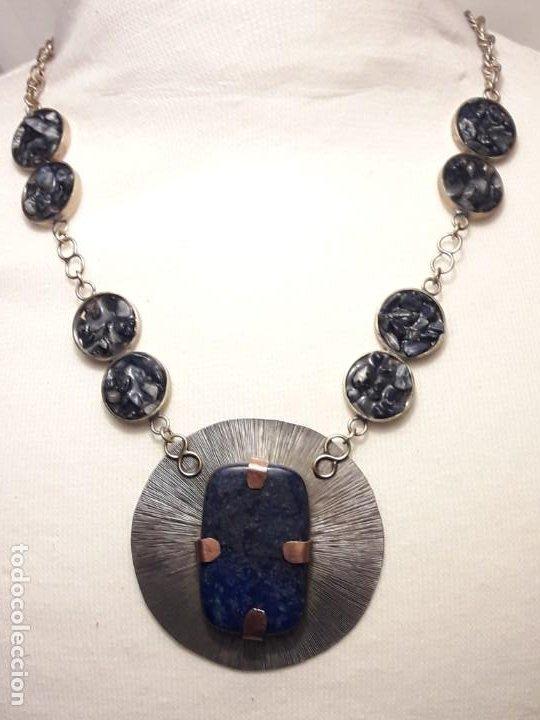 Joyeria: Precioso collar alpaca y lapislázuli hecho a mano pieza única - Foto 3 - 199914688
