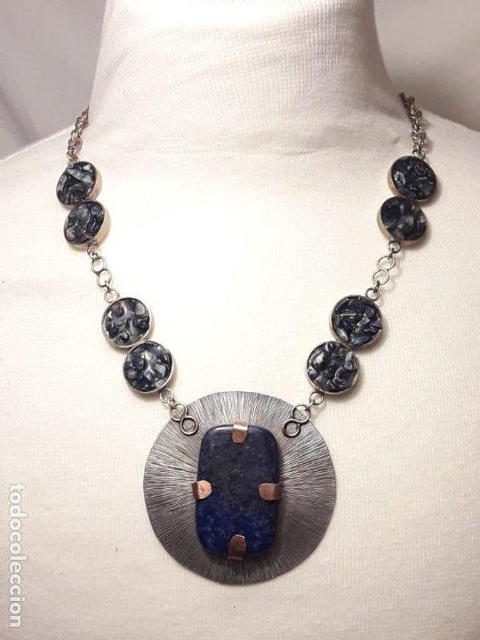 Joyeria: Precioso collar alpaca y lapislázuli hecho a mano pieza única - Foto 8 - 199914688