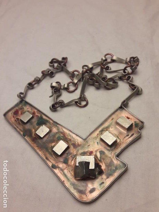 Joyeria: Bello collar de diseño hecho a mano alpaca cobre y pirita mineral natural MA Atelier pieza única - Foto 12 - 200141845