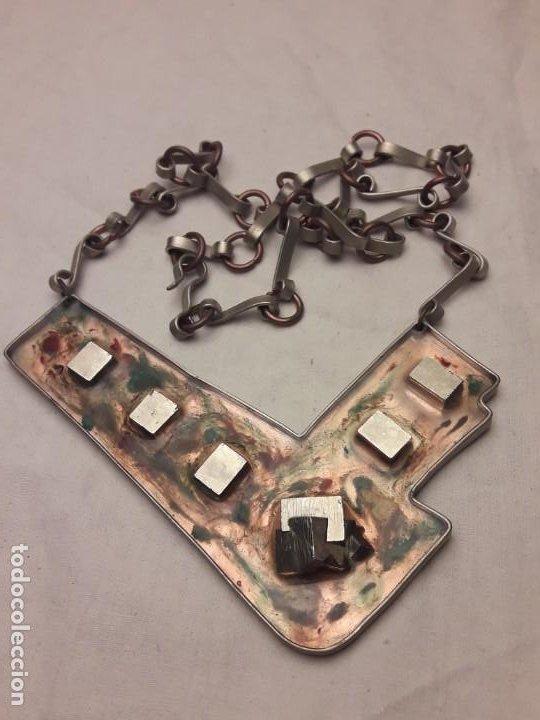 Joyeria: Bello collar de diseño hecho a mano alpaca cobre y pirita mineral natural MA Atelier pieza única - Foto 8 - 200141845