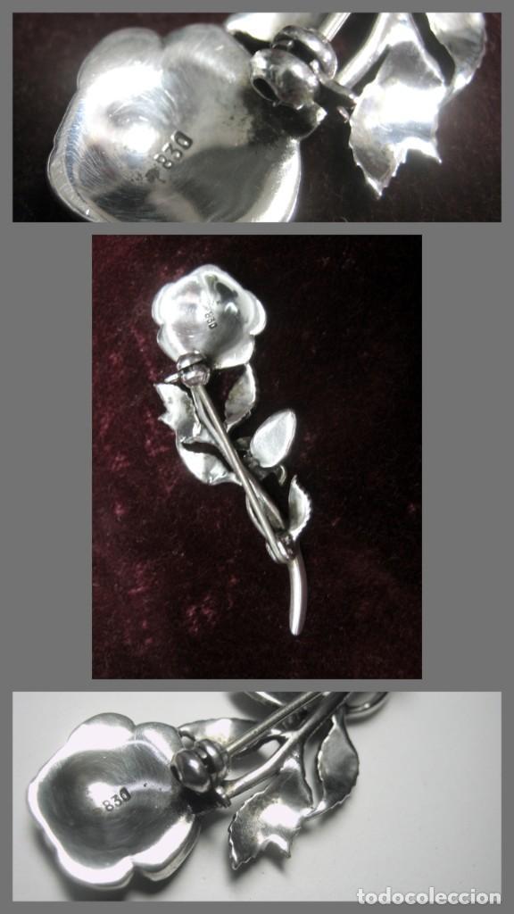 Joyeria: Antiguo y espectacular flor - broche alfiler con marquesitas en plata - contraste - Foto 3 - 49781648
