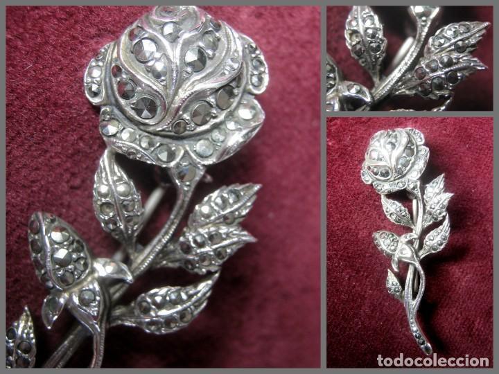 Joyeria: Antiguo y espectacular flor - broche alfiler con marquesitas en plata - contraste - Foto 2 - 49781648