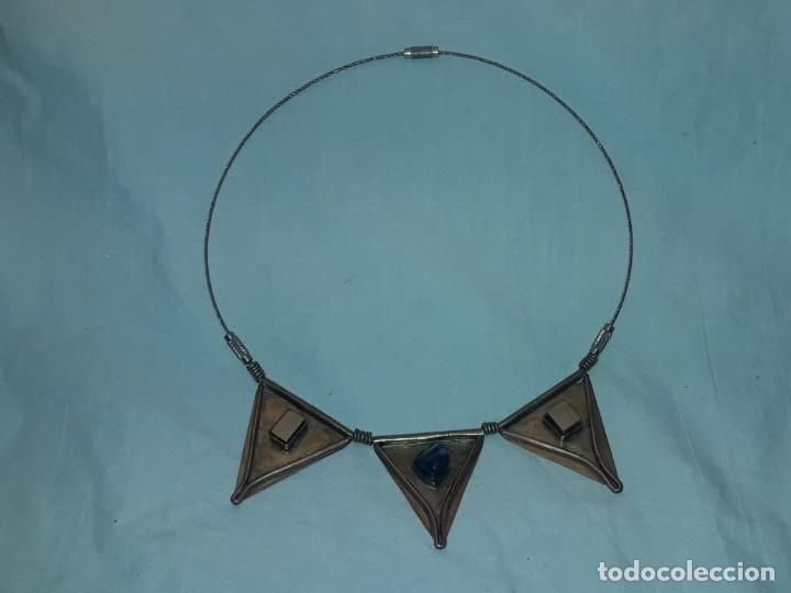 Joyeria: Bello collar de bronce cobre pirita y lapislázuli - Foto 3 - 200554423