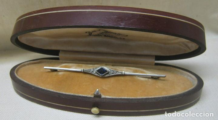 Joyeria: Antiguo Broche ART DECO Platino y Zafiro- firma - Foto 3 - 200591803