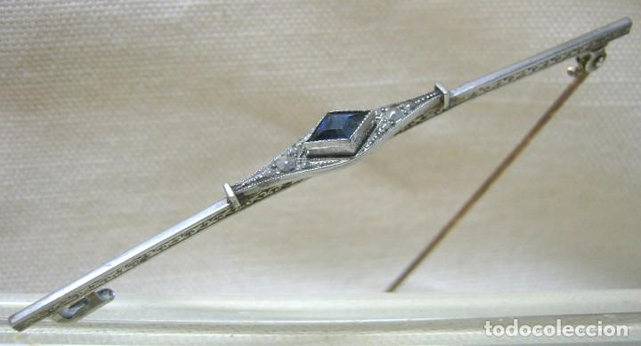 Joyeria: Antiguo Broche ART DECO Platino y Zafiro- firma - Foto 6 - 200591803