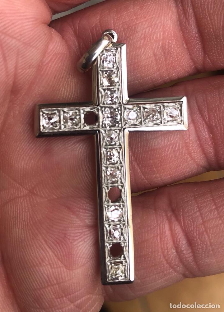 Joyeria: Magnifica cruz antigua oro de 18 klts y diamantes talla roca - Foto 2 - 200836466
