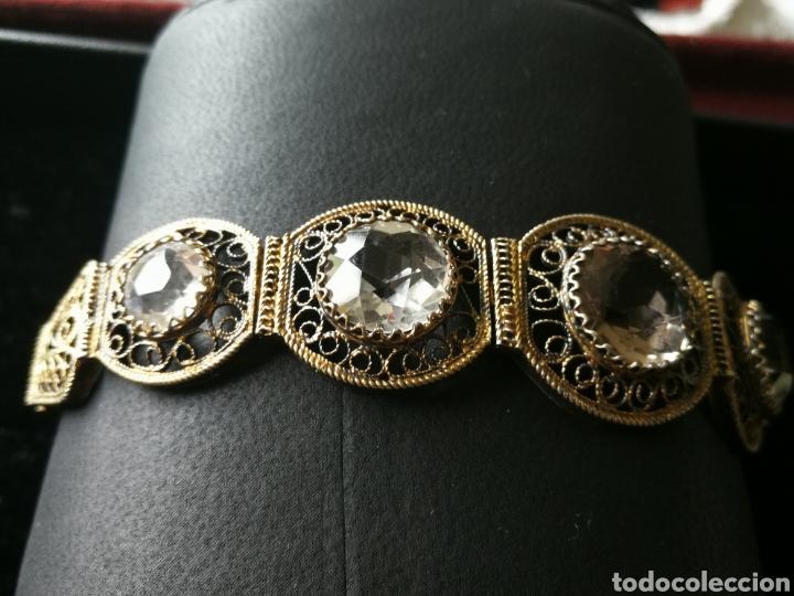 Joyeria: Brazalete filigrana de plata dorada. Piedras faceta das semipreciosas - Foto 2 - 201160630