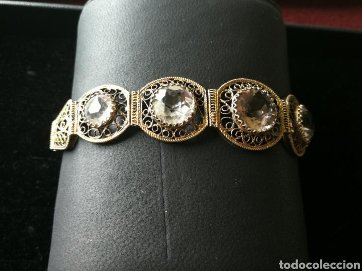 Joyeria: Brazalete filigrana de plata dorada. Piedras faceta das semipreciosas - Foto 3 - 201160630