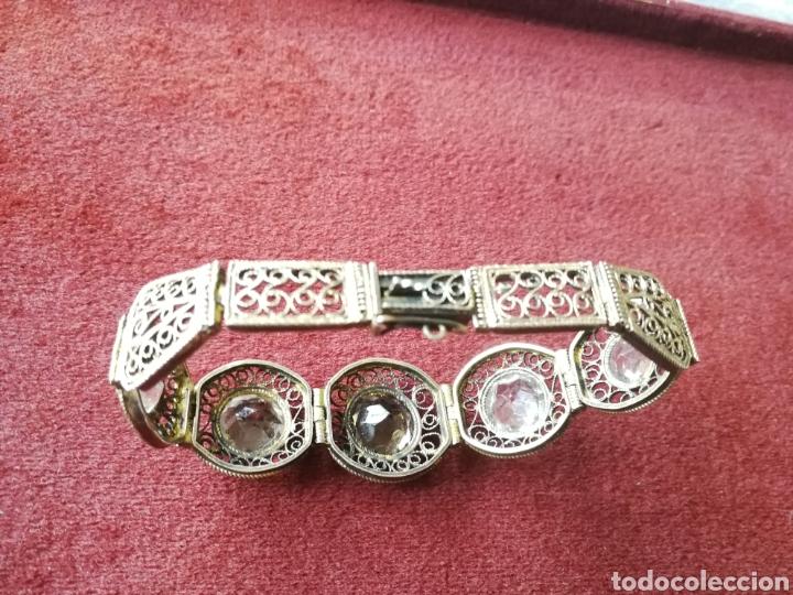 Joyeria: Brazalete filigrana de plata dorada. Piedras faceta das semipreciosas - Foto 4 - 201160630