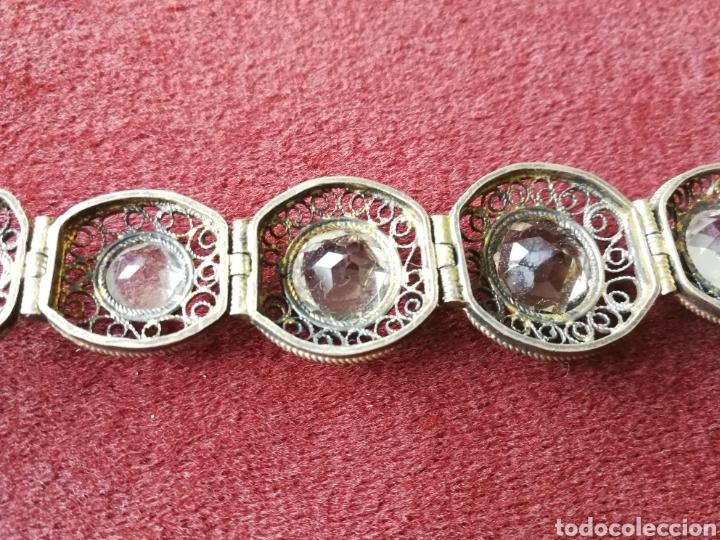 Joyeria: Brazalete filigrana de plata dorada. Piedras faceta das semipreciosas - Foto 5 - 201160630