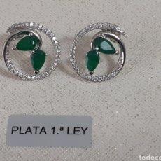 Joyeria: PENDIENTES DE PLATA Y ESMERALDAS. Lote 203350795