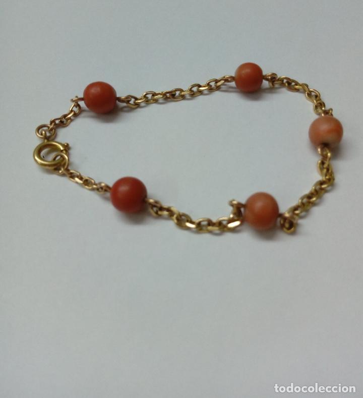 Joyeria: pulsera de oro 18 k y coral - Foto 2 - 203767353