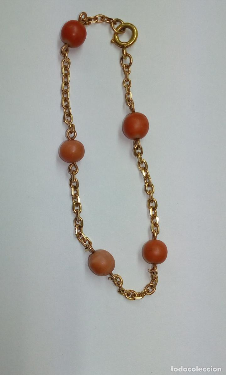 Joyeria: pulsera de oro 18 k y coral - Foto 4 - 203767353