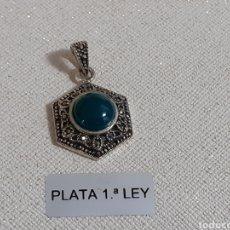 Joyeria: COLGANTE DE PLATA ESMERALDA Y MARCASITAS. Lote 203877342