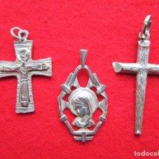 Joyeria: LOTE DE 3 COLGANTES - CRUZ DE CRISTO DE PLATA - SIN ESTRENAR. Lote 204116160