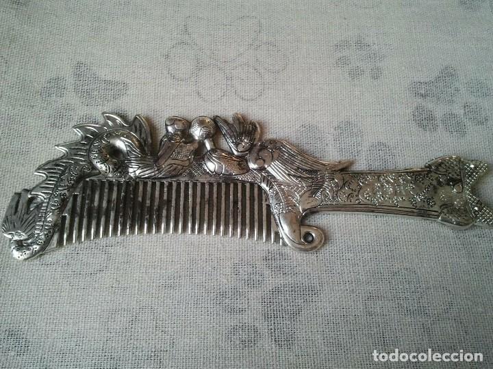 Joyeria: Peine de plata tibetana en forma de Ave Fenix y del Dragon. De hombre y de mujer. Budista tibetano. - Foto 2 - 204305252