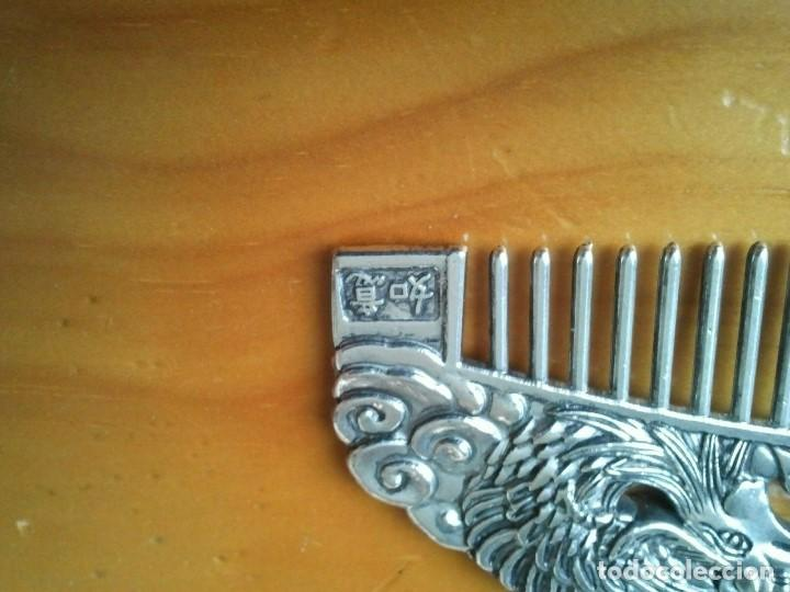 Joyeria: Peine cepillo de plata tibetana. Representan al Ave Fenix y el Dragón. Talisman amuleto protector. - Foto 3 - 204306057