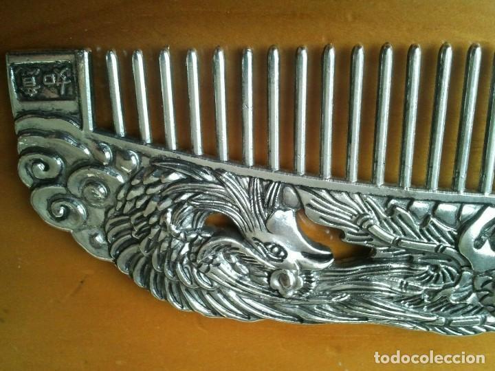 Joyeria: Peine cepillo de plata tibetana. Representan al Ave Fenix y el Dragón. Talisman amuleto protector. - Foto 5 - 204306057