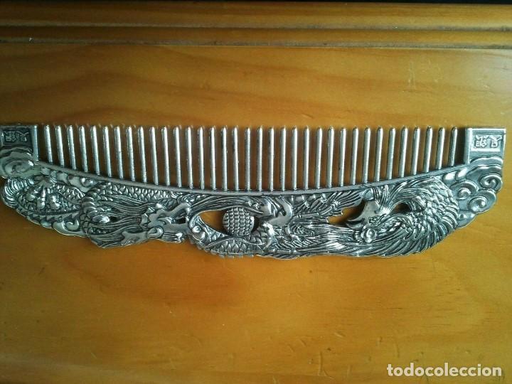 Joyeria: Peine cepillo de plata tibetana. Representan al Ave Fenix y el Dragón. Talisman amuleto protector. - Foto 7 - 204306057
