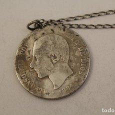 Joyeria: COLLAR 925 CON DURO DE PLATA - ALFONSO XII, 5 PESETAS DE PLATA 1884. Lote 206418111