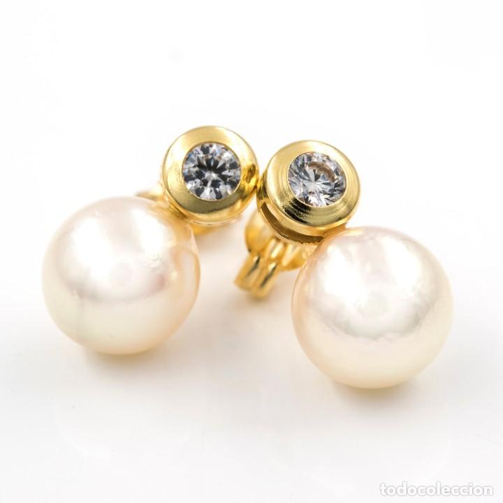 Joyeria: Pendientes Perlas Cultivadas y Circonitas Oro Amarillo 18k - Foto 3 - 206868338