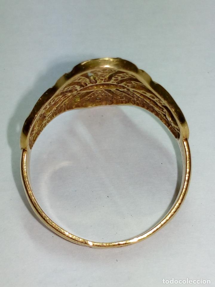 Joyeria: sortija anillo oro 18 kilates bicolor ART DECO con 19 brillantes V1 - 4.3gr - Foto 4 - 207057822
