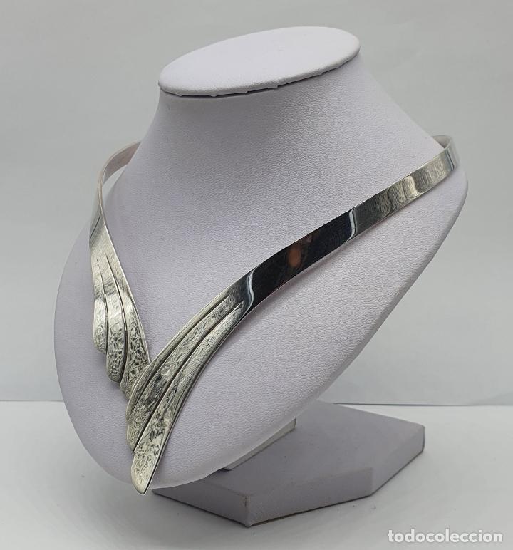 Joyeria: Bella gargantilla en plata de ley maciza de diseño exclusivo, con contraste . - Foto 2 - 207421627