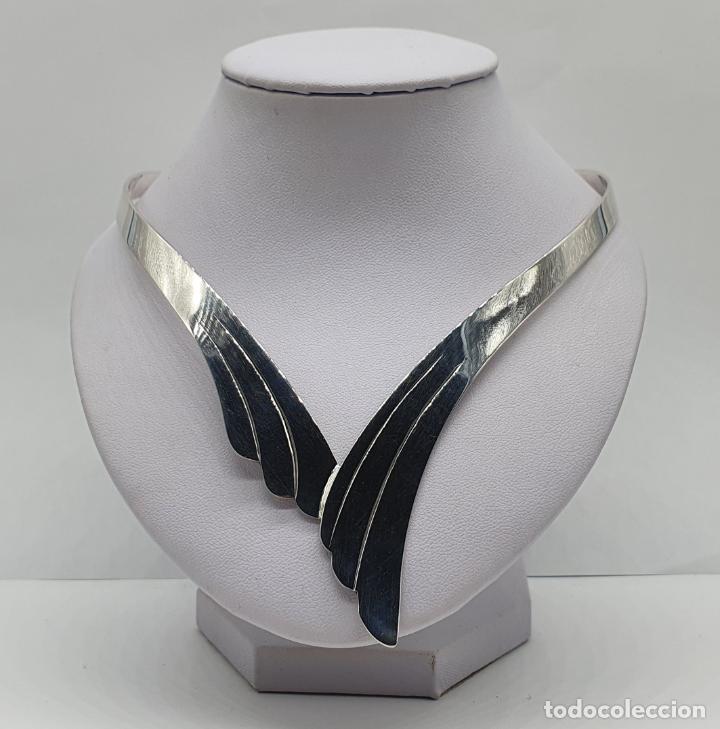 Joyeria: Bella gargantilla en plata de ley maciza de diseño exclusivo, con contraste . - Foto 3 - 207421627