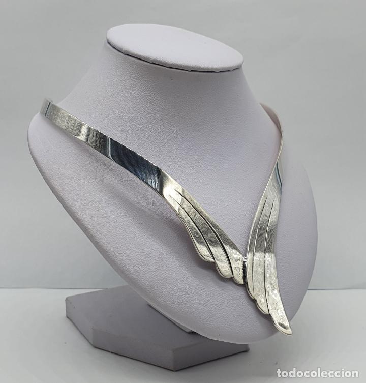 Joyeria: Bella gargantilla en plata de ley maciza de diseño exclusivo, con contraste . - Foto 4 - 207421627