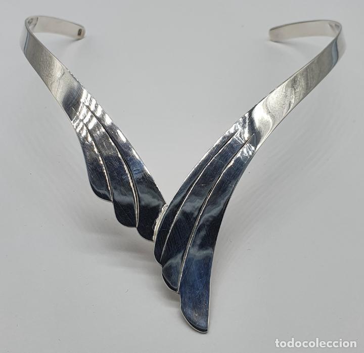Joyeria: Bella gargantilla en plata de ley maciza de diseño exclusivo, con contraste . - Foto 6 - 207421627