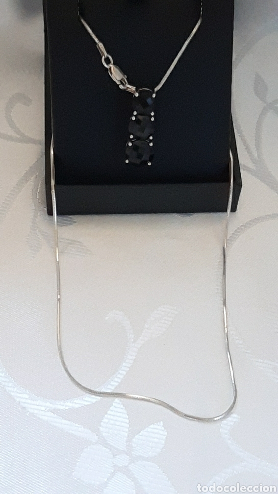 Joyeria: Cadena colla de topo y colgante turmalina ambos plata de ley 925 tggc ITALY - Foto 14 - 207625825