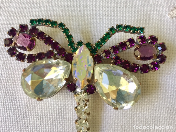 Joyeria: Broche vintage de cristales libelula - Foto 3 - 208895048