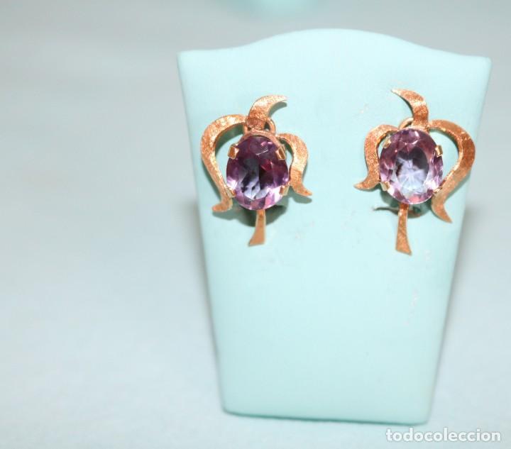 Joyeria: Antiguos pendientes de oro y amatistas. Antique golden earrings with amatists. - Foto 7 - 53108465