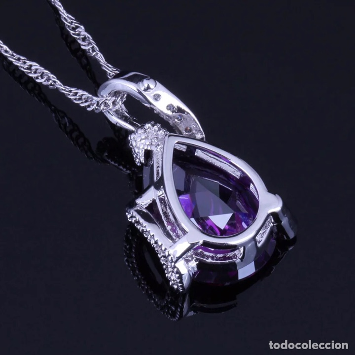 Joyeria: Juego de anillo, pendientes y colgante. Plata de Ley con símil amatistas facetadas y circonitas. - Foto 3 - 210031953