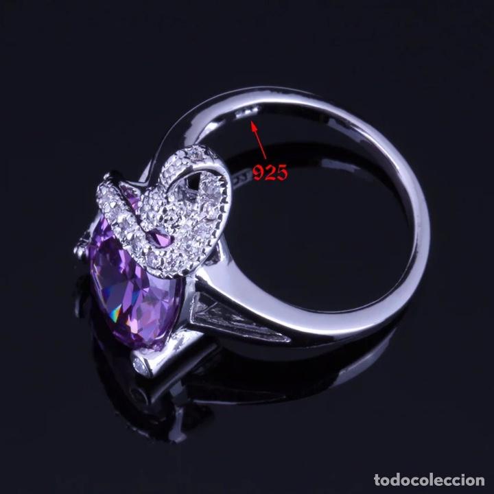 Joyeria: Juego de anillo, pendientes y colgante. Plata de Ley con símil amatistas facetadas y circonitas. - Foto 5 - 210031953