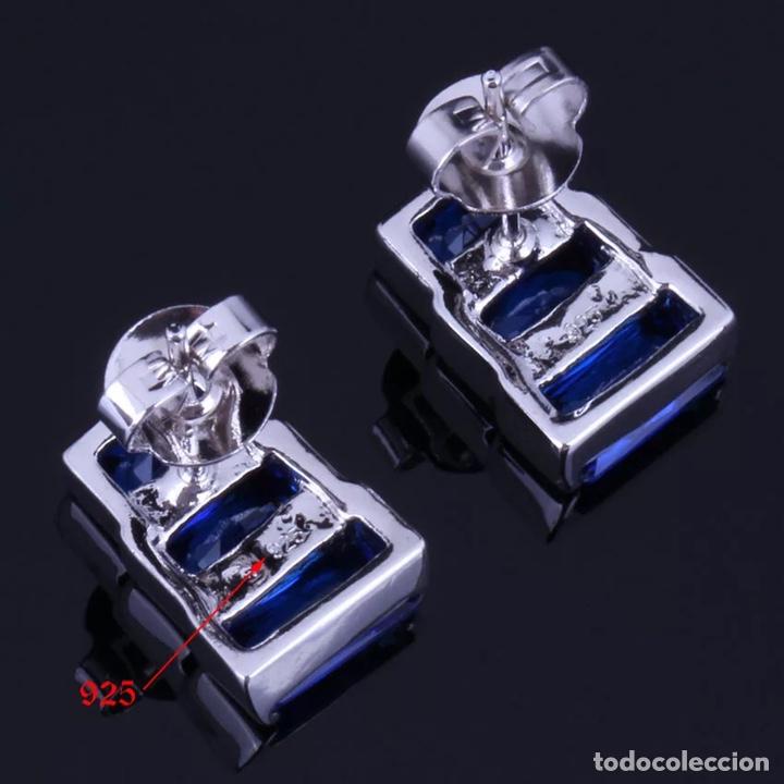 Joyeria: Juego de anillo, pendientes y colgante. Plata contrastada y símil zafir facetado y circonitas. - Foto 4 - 210033086