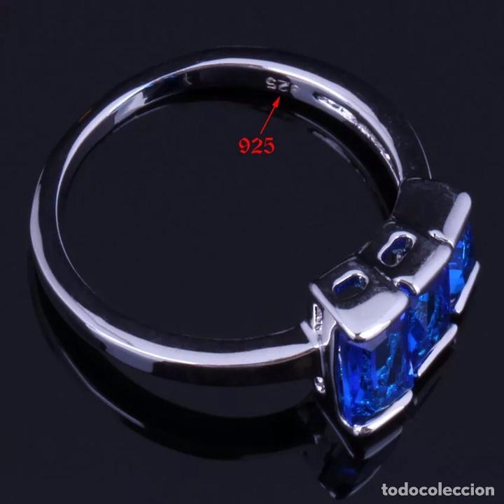 Joyeria: Juego de anillo, pendientes y colgante. Plata contrastada y símil zafir facetado y circonitas. - Foto 5 - 210033086