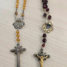 Joyeria: PAREJA COLLAR ROSARIO RELIGIOSO DE PLATA Y VIDRIO S XIX. Lote 210092310