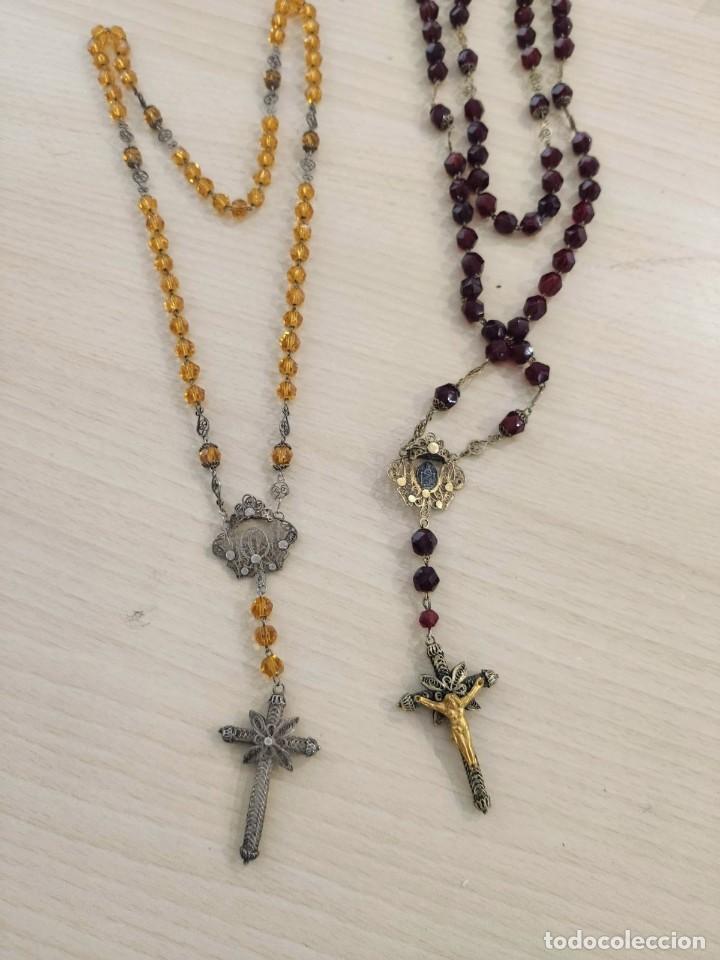 Joyeria: PAREJA COLLAR ROSARIO RELIGIOSO DE PLATA Y VIDRIO S XIX - Foto 2 - 210092310