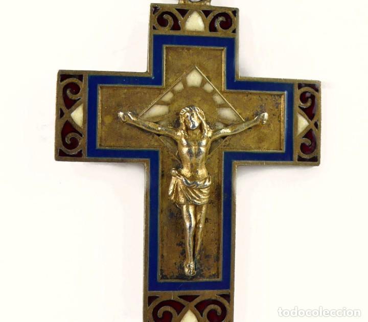 Joyeria: Masriera y Carreras- Colgante cruz / crucifijo de plata, esmalte y marfil - Art Decó Ca.1930-40 - Foto 2 - 210197943