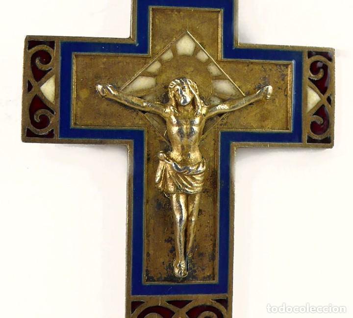 Joyeria: Masriera y Carreras- Colgante cruz / crucifijo de plata, esmalte y marfil - Art Decó Ca.1930-40 - Foto 3 - 210197943