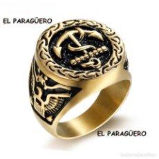 Joyeria: ANILLOSELLO ANCLA MARINERA DE ORO DE 24 KILATES AMARILLO NEGRO LAMINADO-HAY MAS PREGUNTA TU TALLA -. Lote 210351710