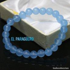 Joyeria: PULSERA ELASTICA DE AGUAMARINAS TRANSPARENTES REDONDAS - PESO 20 GRAMOS - Nº69. Lote 210974707