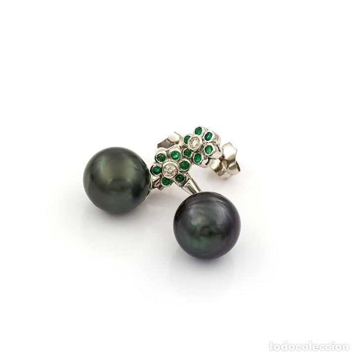 Joyeria: Pendientes de Perlas Tahití con Diamantes y Esmeraldas - Foto 3 - 211277004
